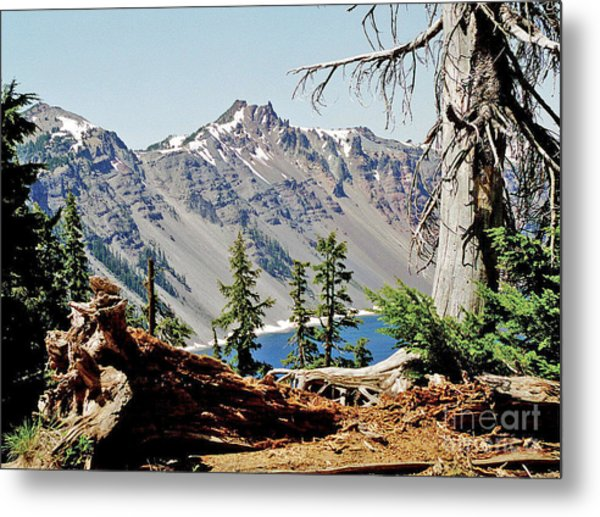 Crater Lake Through Nature Metal Print by Mike Stone