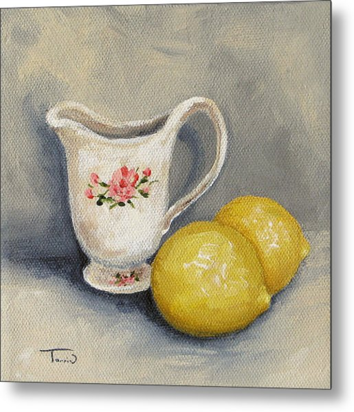Cream With Lemons Metal Print
