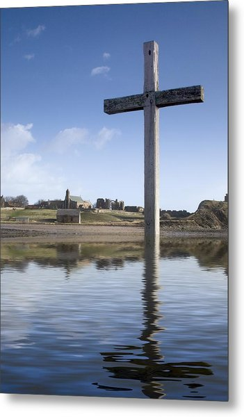 Cross In Water, Bewick, England Metal Print