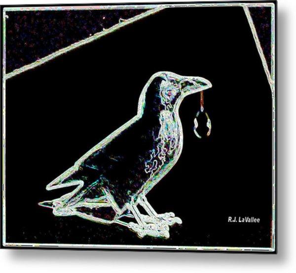 Crow With Crystal 3 Metal Print