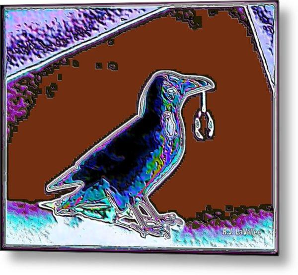 Crow With Crystal 5 Metal Print