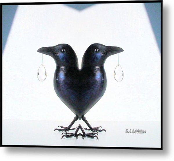 Crow With Crystal 6 Metal Print