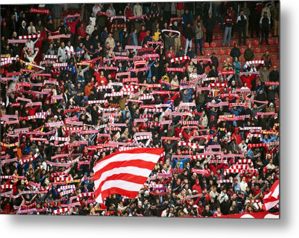 Crowd Of Fans Raise Scarves In Support Of Red Star, One Of Sebia's Premier Soccer Teams Metal Print by Greg Elms