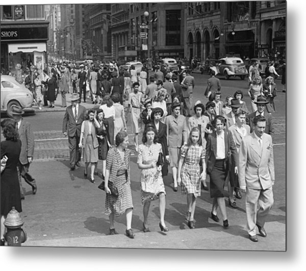 Crowd On 42nd St And 5th Avenue, Nyc Circa 1940s Metal Print by George Marks