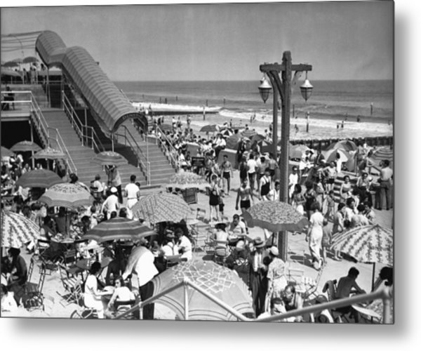 Crowded Beach, (b&w), Elevated View Metal Print by George Marks