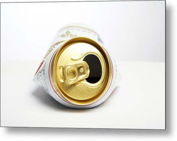 Crushed Beer Can Metal Print