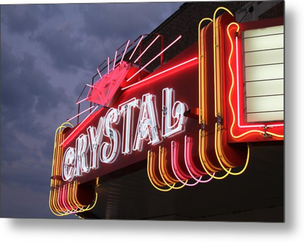 Crystal Theater Neon Metal Print