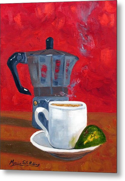 Cuban Coffee And Lime Red 62012 Metal Print by Maria Soto Robbins