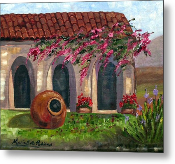 Cuban Courtyard With Tinajon And Bougainvillea Metal Print by Maria Soto Robbins