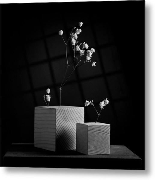 Cubicle Flowers - Gray Variations Metal Print by Ovidiu Bastea
