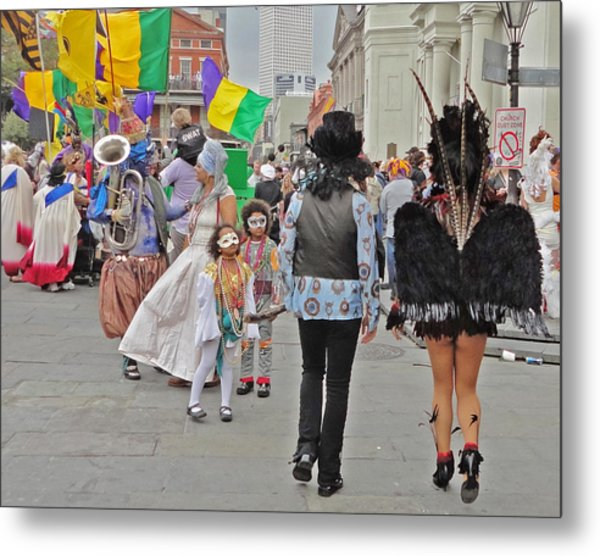 Curious Children On Mardi Gras In New Orleans Metal Print