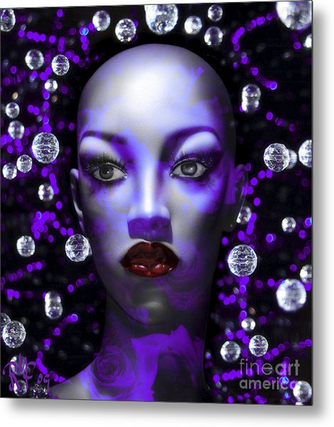 Cushioned Lips Moon Lady Metal Print by Rosa Cobos