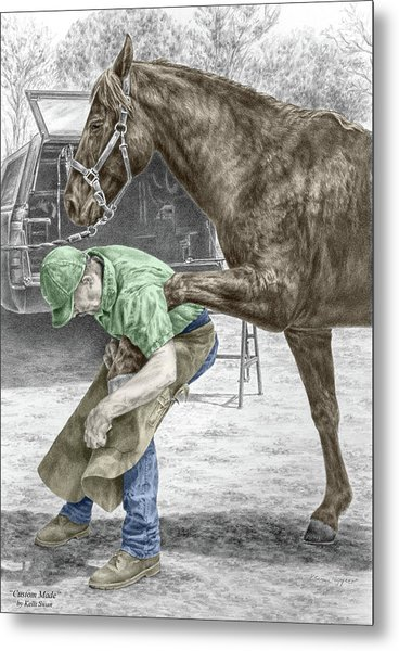 Custom Made - Farrier And Horse Print Color Tinted Metal Print