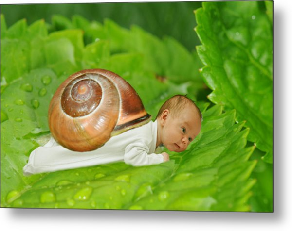 Cute Baby Boy With A Snail Shell Metal Print