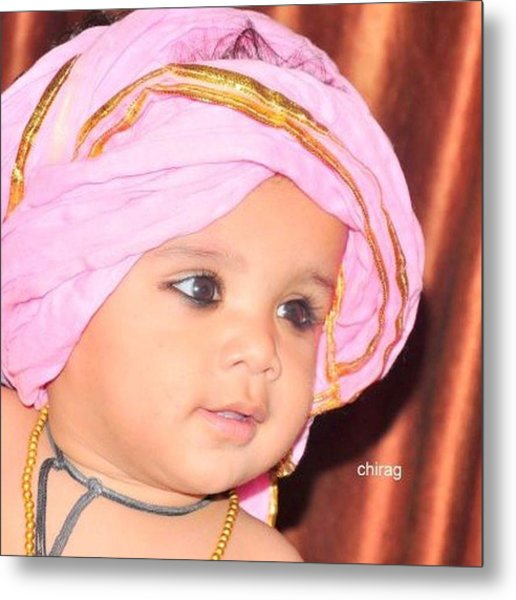Cute Baby Photo Metal Print by Chirag Arts