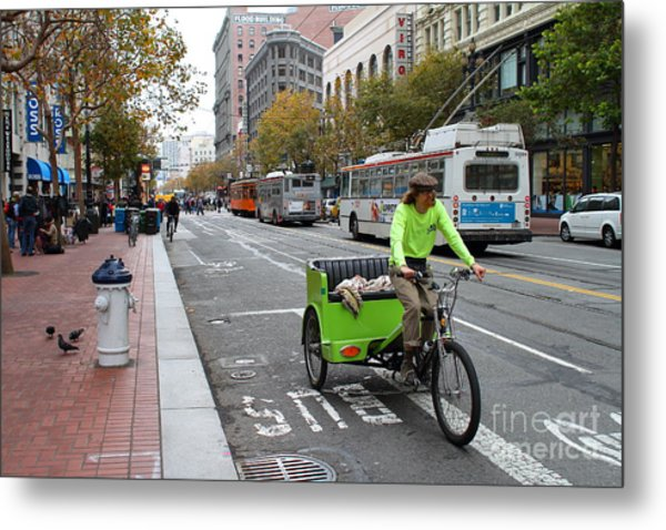 Cycle Rickshaw On Market Street In San Francisco Metal Print by Wingsdomain Art and Photography