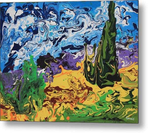 Cypress With Wheat Field After Van Gogh Metal Print