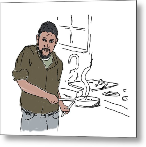 Metal Print featuring the drawing Dad Cooking by Daniel Reed