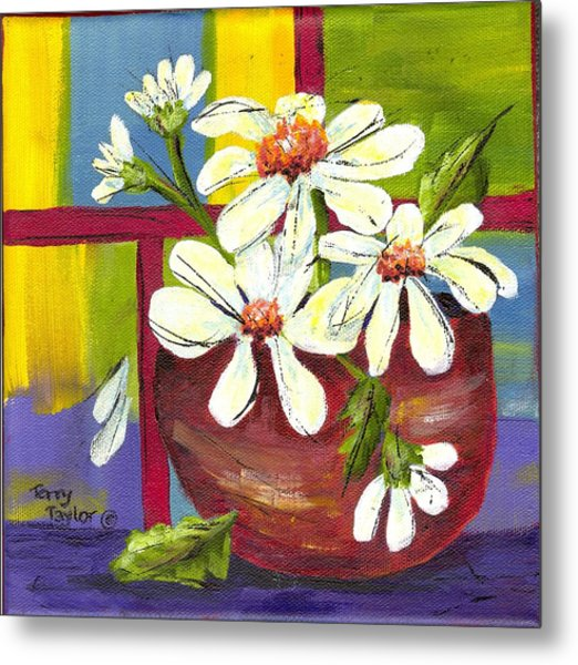 Daisies In A Red Bowl Metal Print