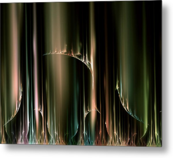 Dancing Auroras Curtains In The Sky Metal Print