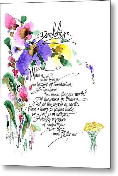 Dandelions Poem And Art Metal Print