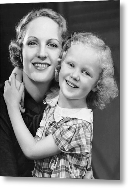 Daughter W/ Arm Around Mother Metal Print by George Marks