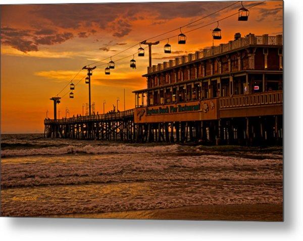 Daytona Beach Pier At Sunset Metal Print