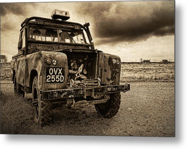 Decaying Landrover At Dungeness Metal Print by David Turner