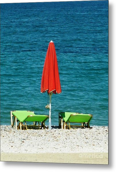 Deck Chairs Metal Print by Therese Alcorn