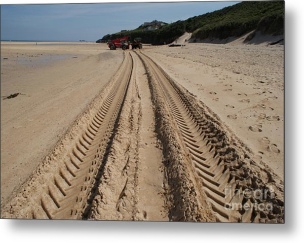 Deep Tracks - Soft Sand Metal Print by Keith Sutton
