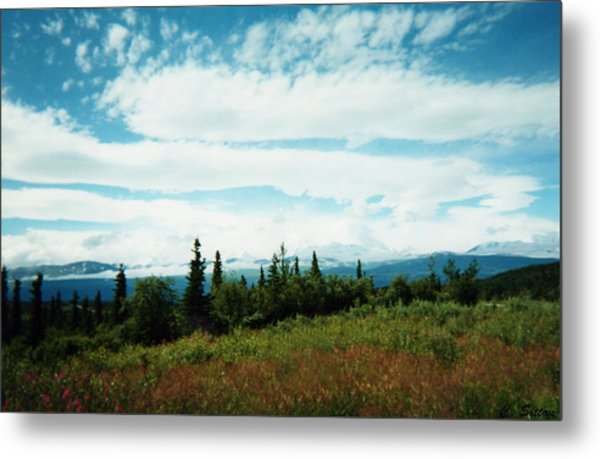 Denali Sleeps Behind Clouds Metal Print