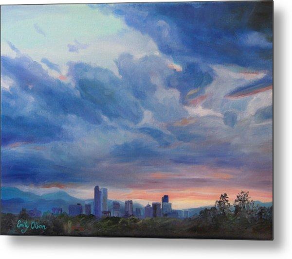 Denver Skyline At Sunset Metal Print