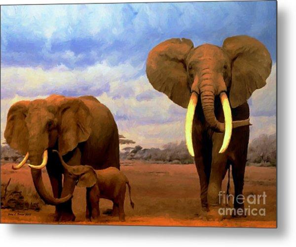 Desert Elephants Metal Print