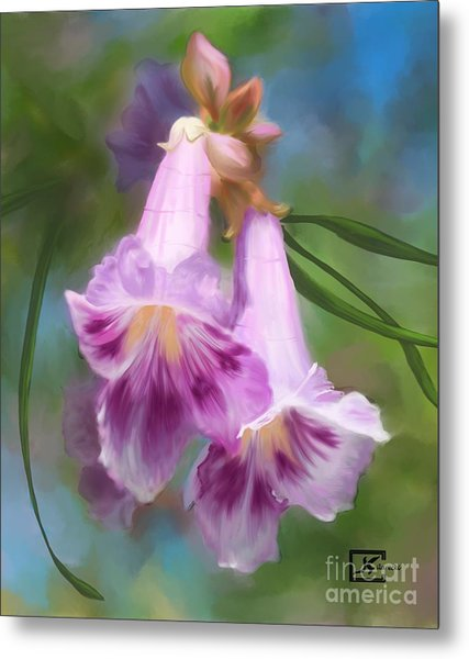 Desert Willow Floral Wall Art Metal Print