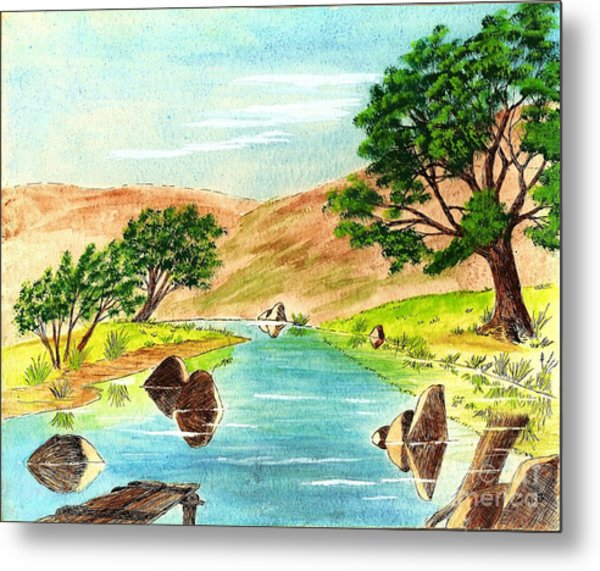 Deserted Desert Stream Metal Print