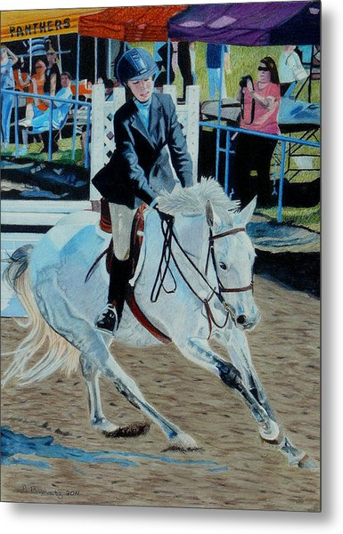Determination - Horse And Rider - Horseshow Painting Metal Print