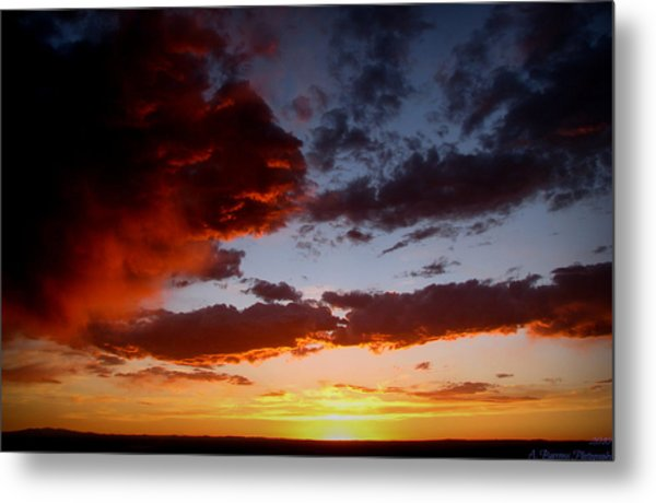 Developing Storm At Sunset Metal Print by Aaron Burrows