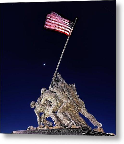 Digital Drawing - Iwo Jima Memorial At Dusk Metal Print