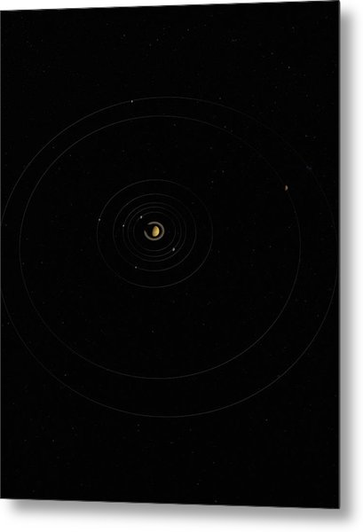Digital Illustration Of Saturn And Its Moons Metal Print