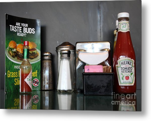 Diner Table Condiments And Other Items - 5d18035 Metal Print by Wingsdomain Art and Photography