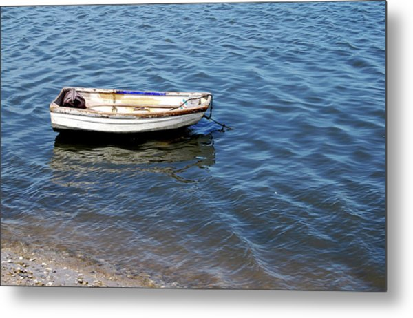 Dingy In St Augustine Bay Metal Print by Jim and Kim Shivers