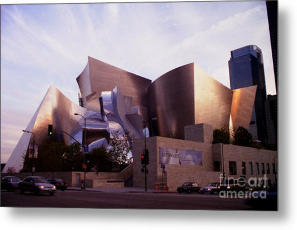 Disney Hall Western View Metal Print by Ron Javorsky