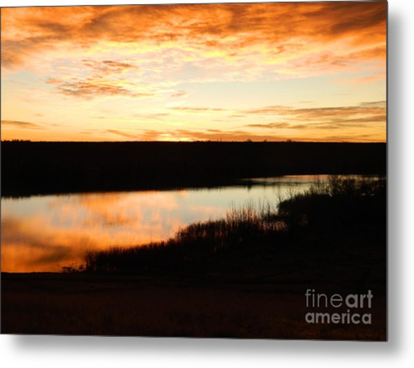 Dixon Reservoir Sunrise Metal Print by Sara  Mayer