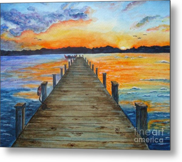 Dock Of The Bay Metal Print by Bonnie Schallermeir