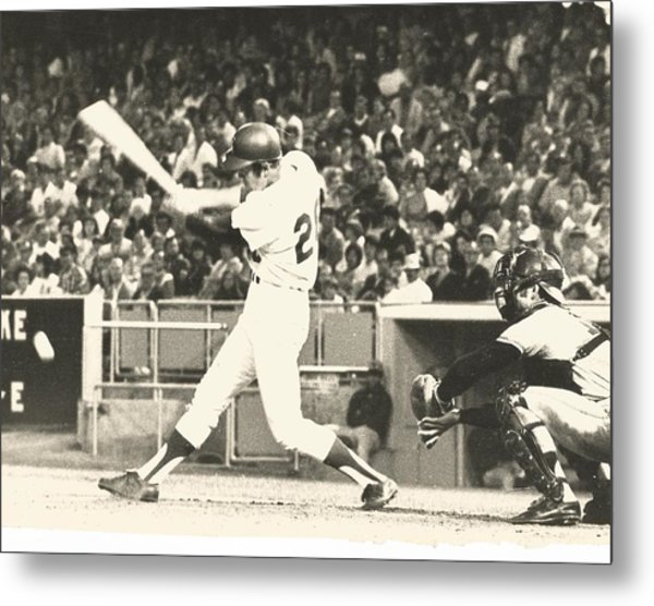 Dodger Wes Parker Batting At Dodger Stadium Metal Print