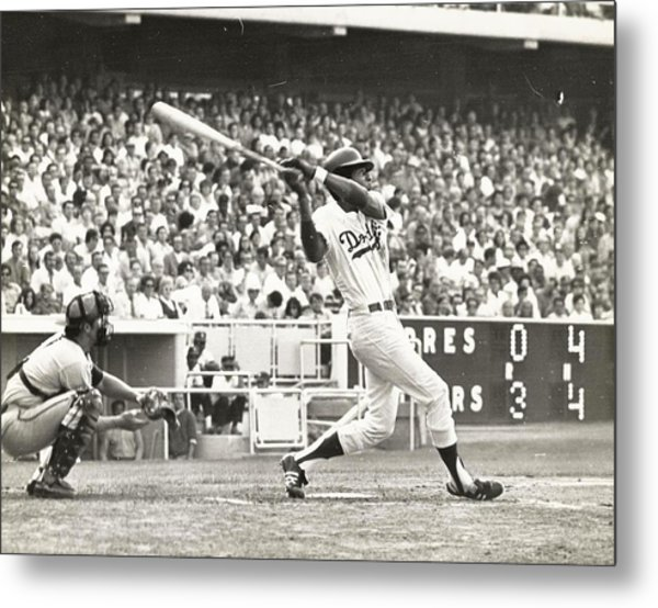 Dodger Willie Davis Batting At Dodger Stadium  Metal Print