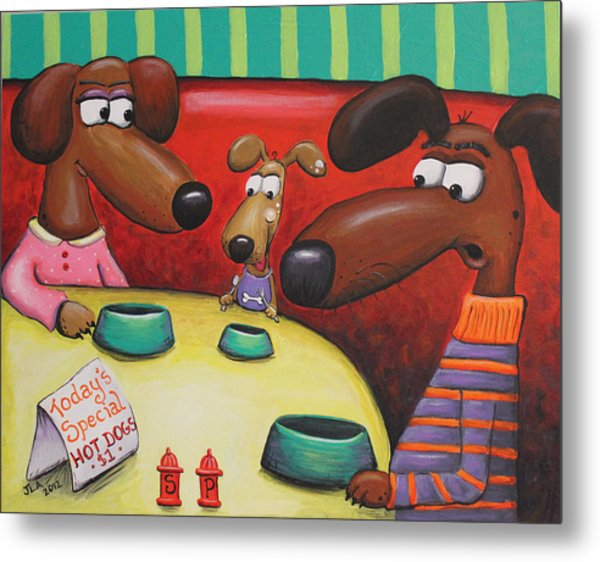 Doggie Diner Metal Print by Jennifer Alvarez