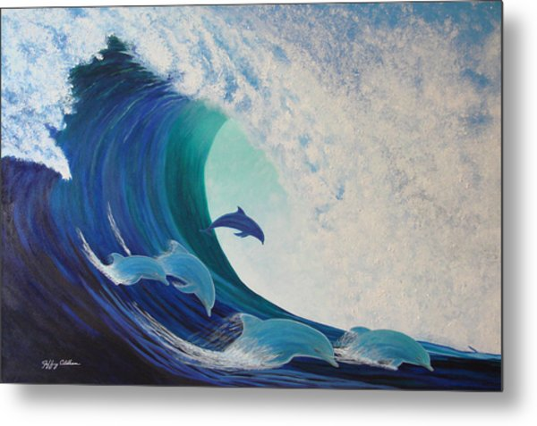 Dolphin Wave Metal Print by Jeffrey Oldham