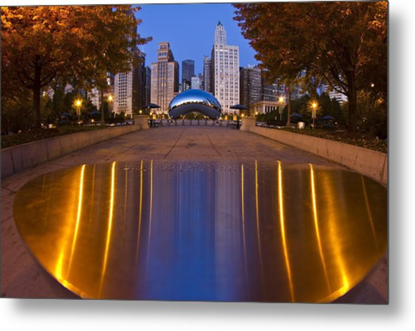 Metal Print featuring the photograph down the aisle toward Cloudgate by Sven Brogren