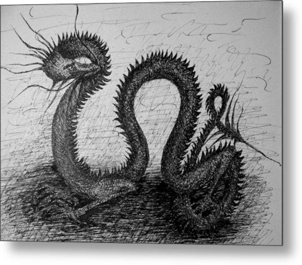 Dragon Looking Back Metal Print